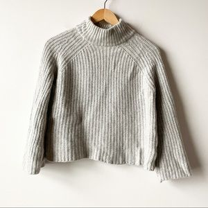 360Cashmere Gray Ribbed Cashmere Mock Neck Sweater